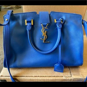 YSL blue cow leather purse